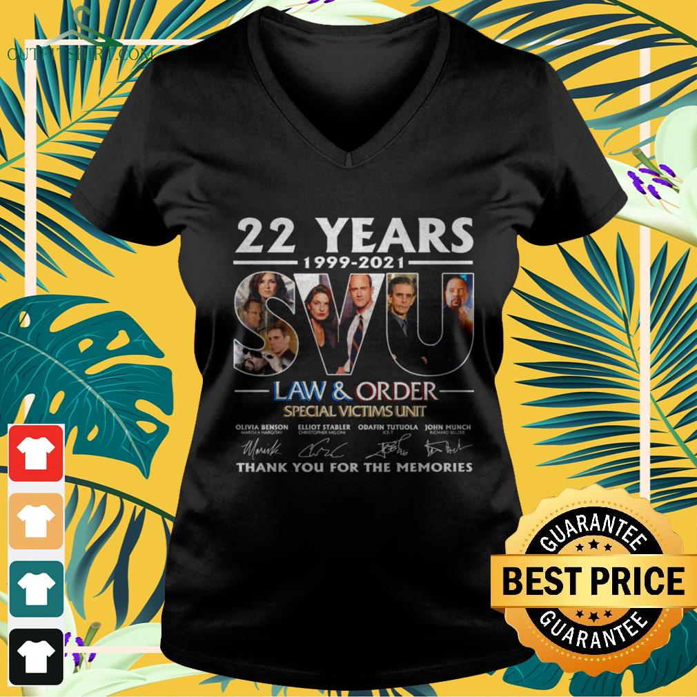 22 Years 199-2021 SVU Law and Order Special Victims Unit thank you for the memories signature v-neck t-shirt