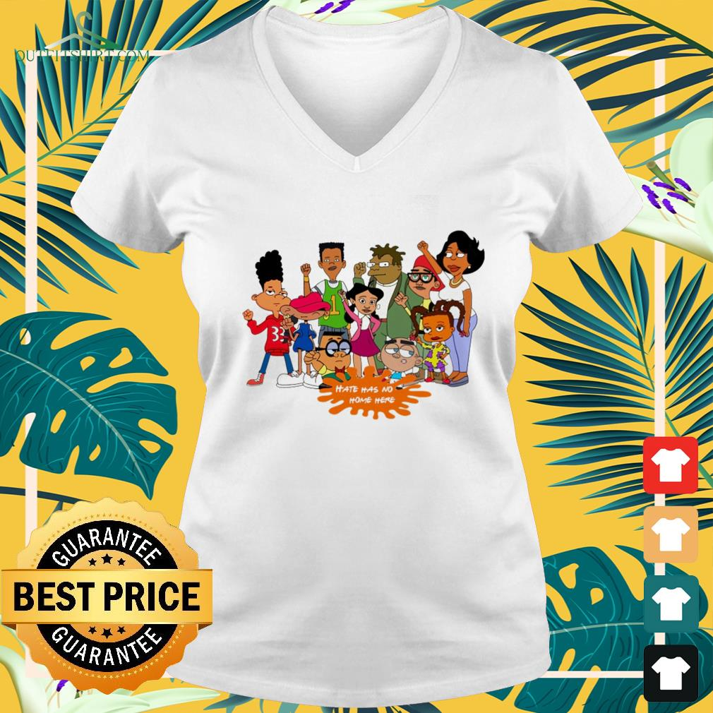 Afro black cartoon characters hate has no home here v-neck t-shirt