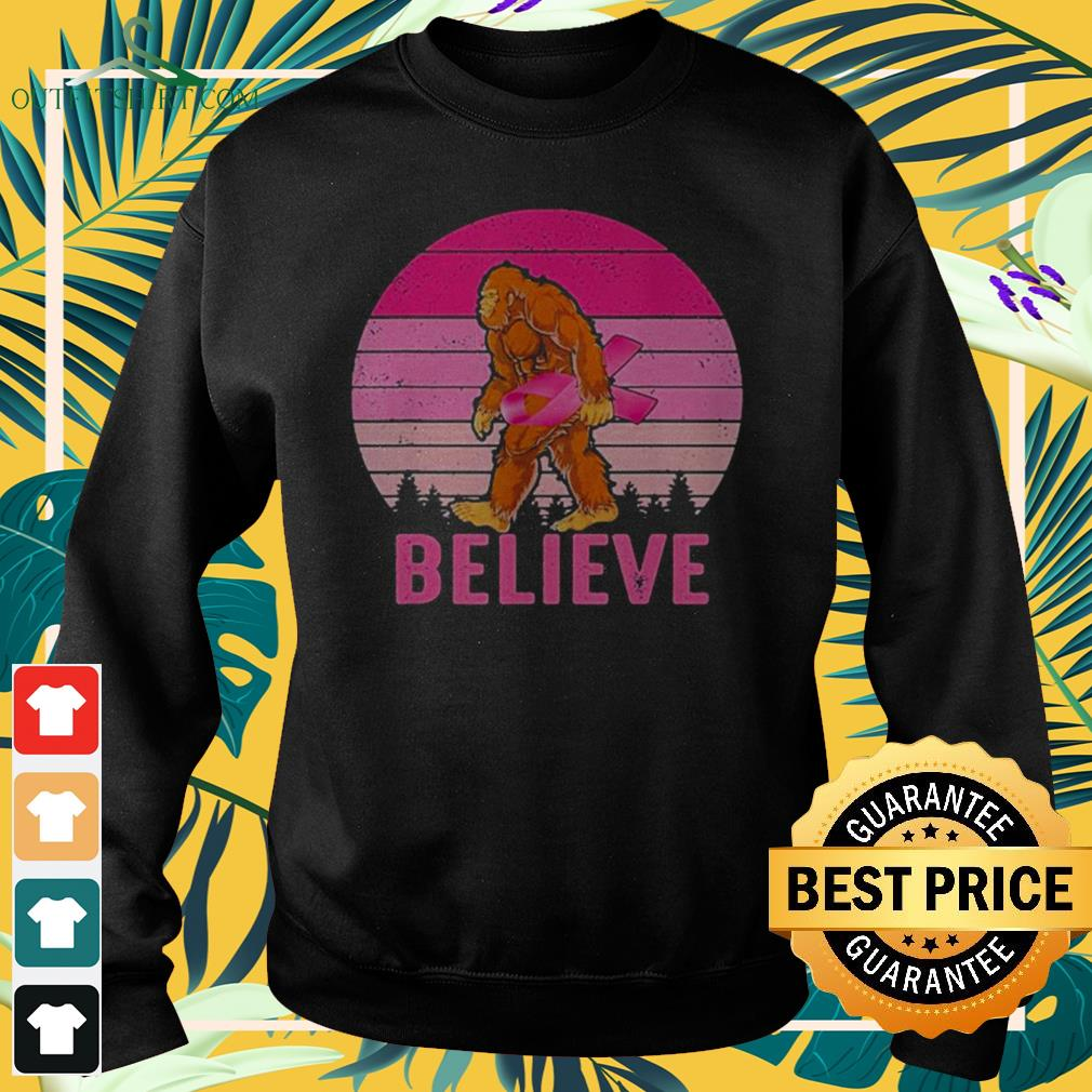 Bigfoot believe carrying pink ribbon breast cancer awareness sweater