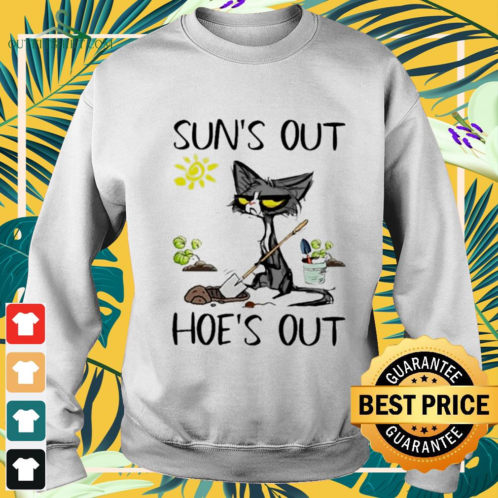 Black cat gardener suns out hoes out sweater