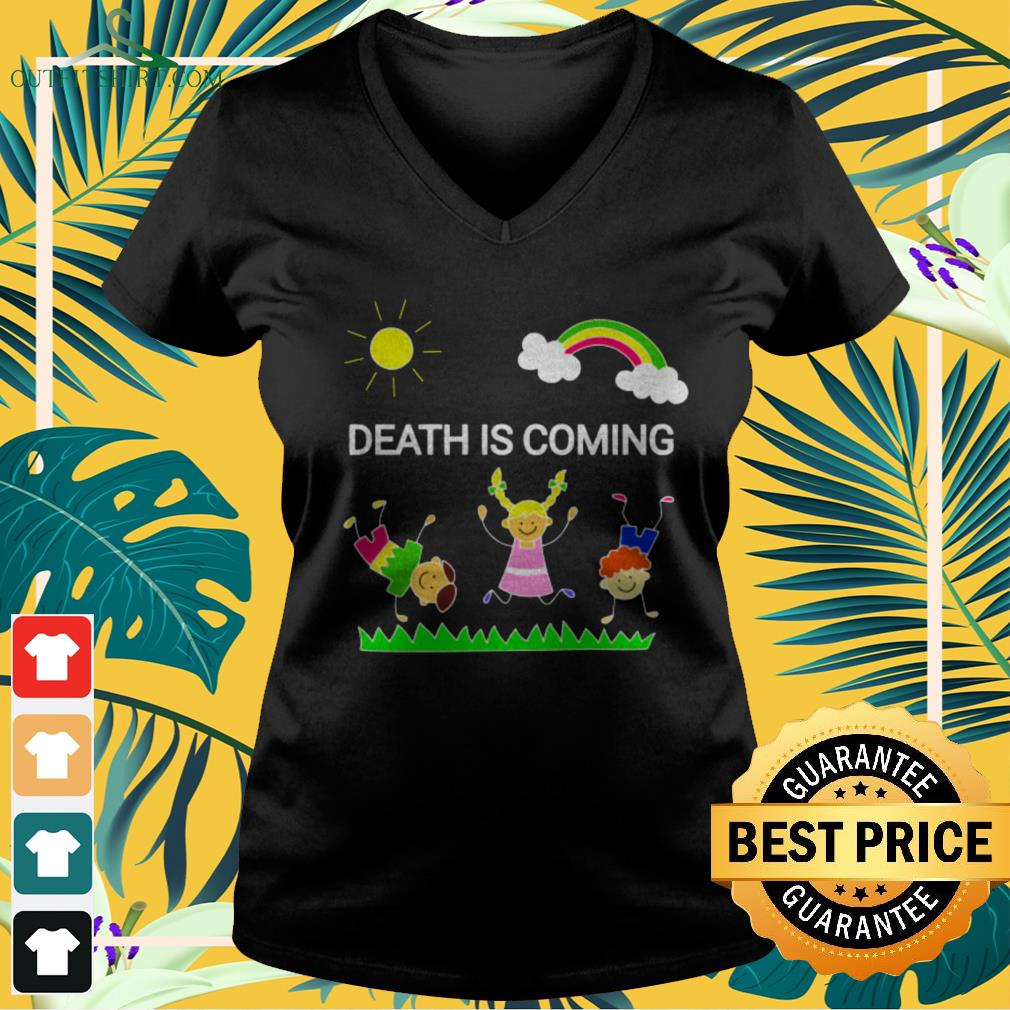 Children playing death is coming v-neck t-shirt