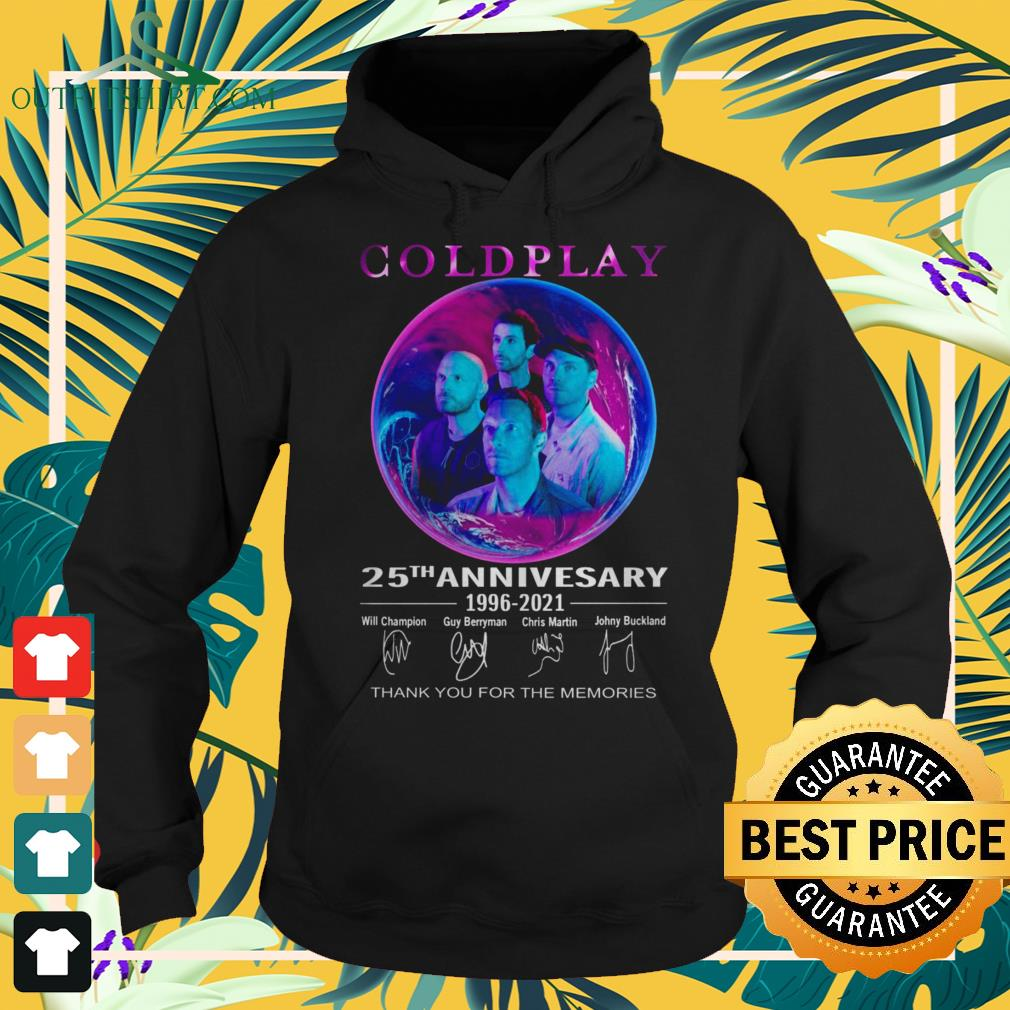 Coldplay 25th anniversary 1996-2021 thank you for the memories signature hoodie