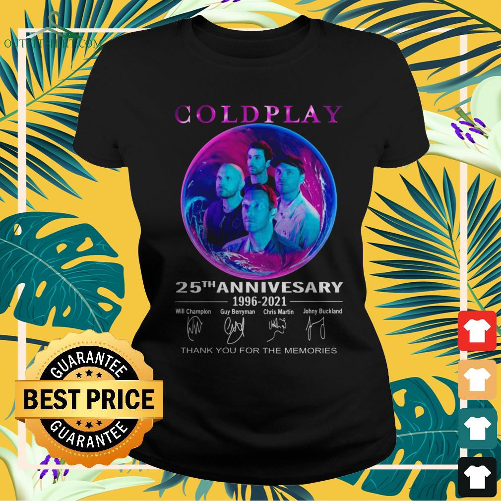 Coldplay 25th anniversary 1996-2021 thank you for the memories signature ladies-tee