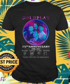 Coldplay 25th anniversary 1996-2021 thank you for the memories signature shirt