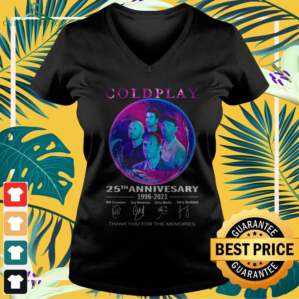 Coldplay 25th anniversary 1996-2021 thank you for the memories signature v-neck t-shirt