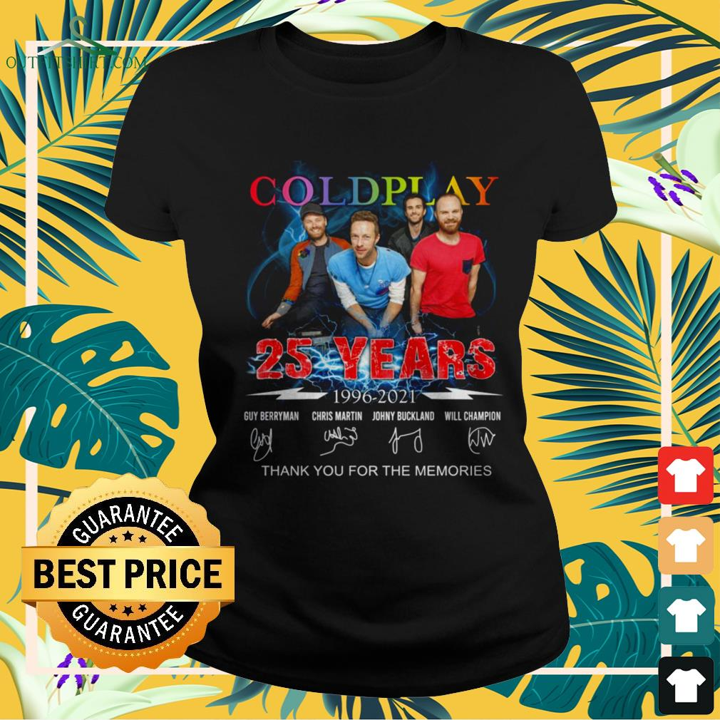 Coldplay Rock band 25 Years thank you for the memories signature ladies-tee