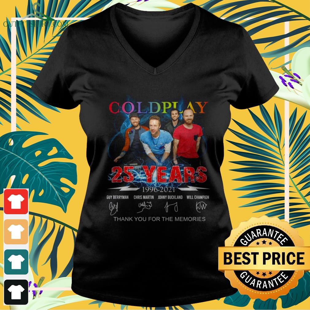 Coldplay Rock band 25 Years thank you for the memories signature v-neck t-shirt