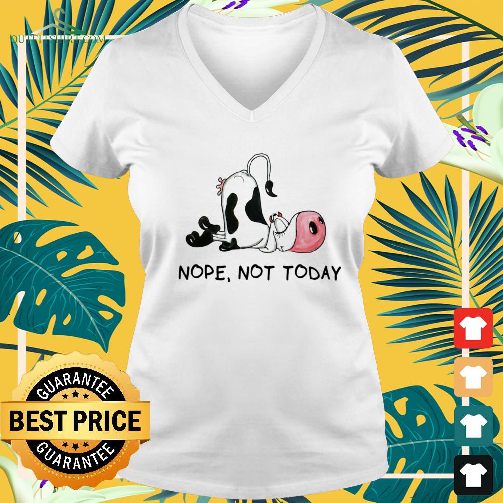 Cow sleeping nope not today v-neck t-shirt
