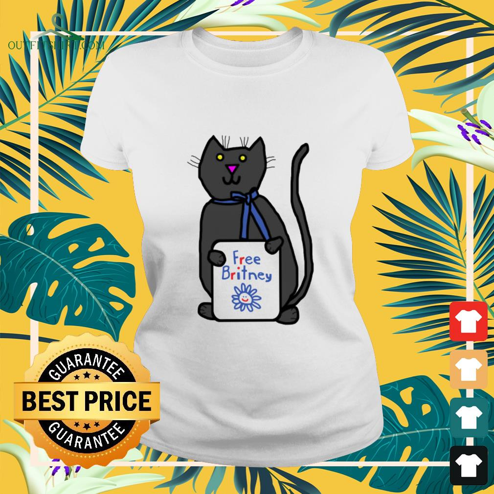 Cute cat with Free Britney sign ladies-tee