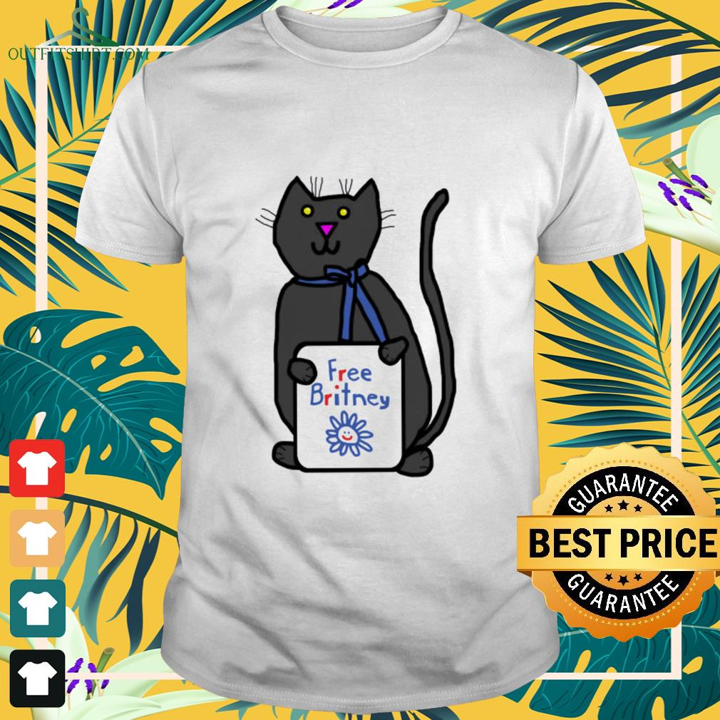 Cute cat with Free Britney sign shirt