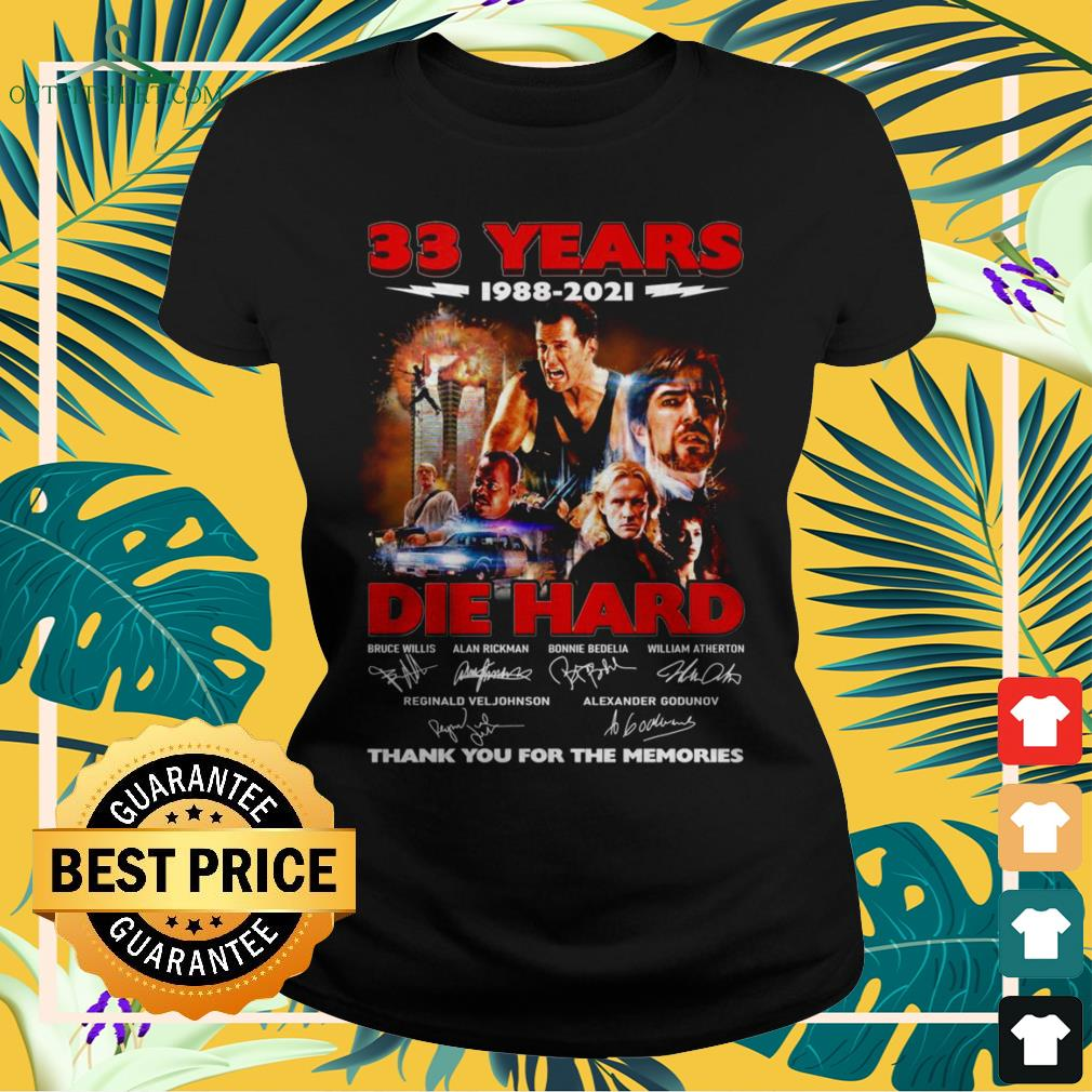 Die Hard 33 Years 1988-2021 thank you for the memories signature ladies-tee