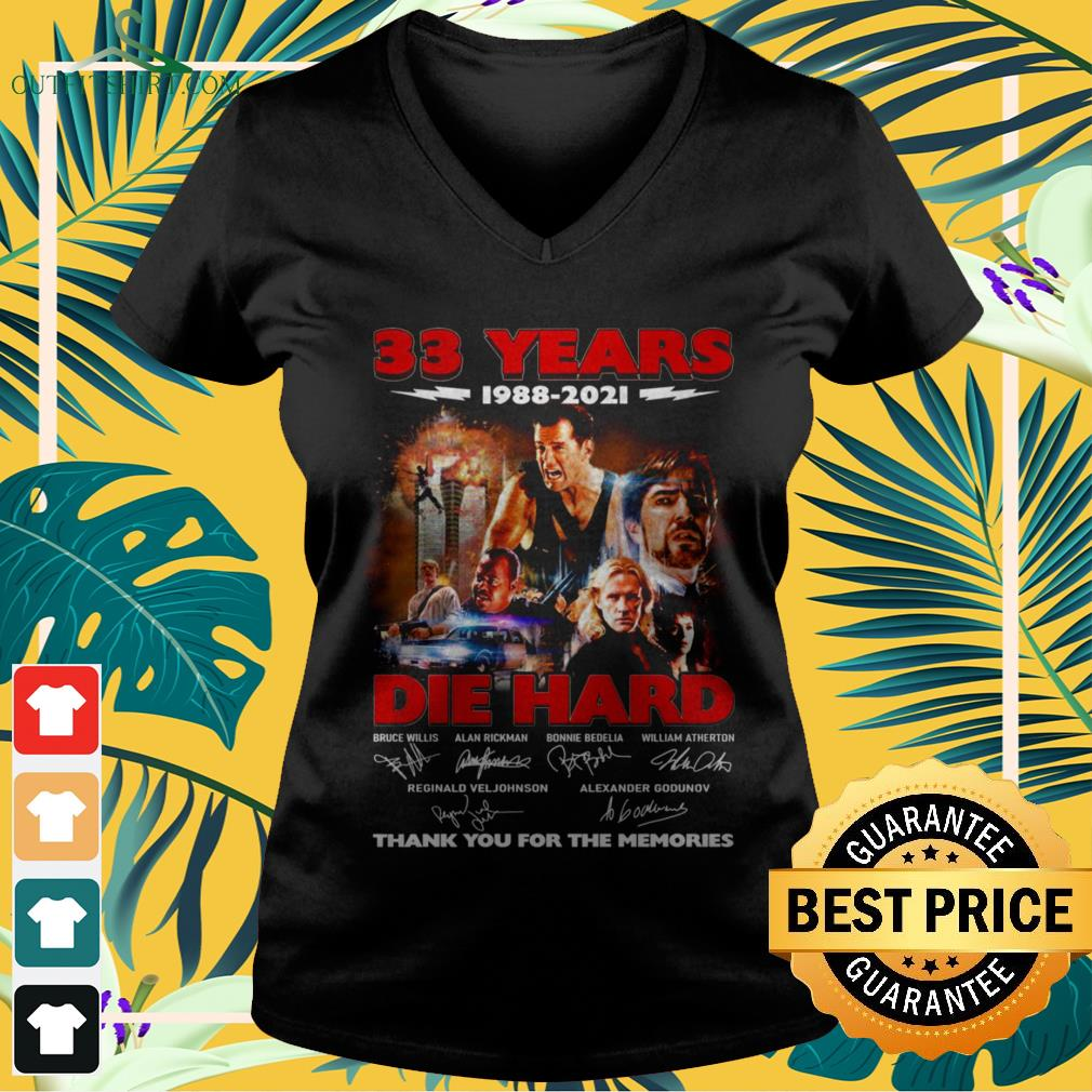 Die Hard 33 Years 1988-2021 thank you for the memories signature v-neck t-shirt