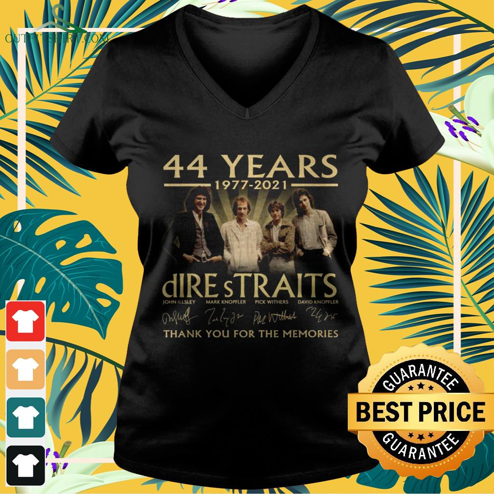 Dire Straits Rock band 44 Years 1977-2021 thank you for the memories signature v-neck t-shirt