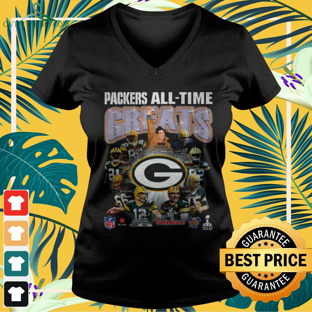 Green Bay Packers all-time greats signature v-neck t-shirt