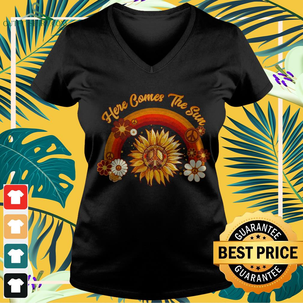 Here comes the sun rainbow v-neck t-shirt