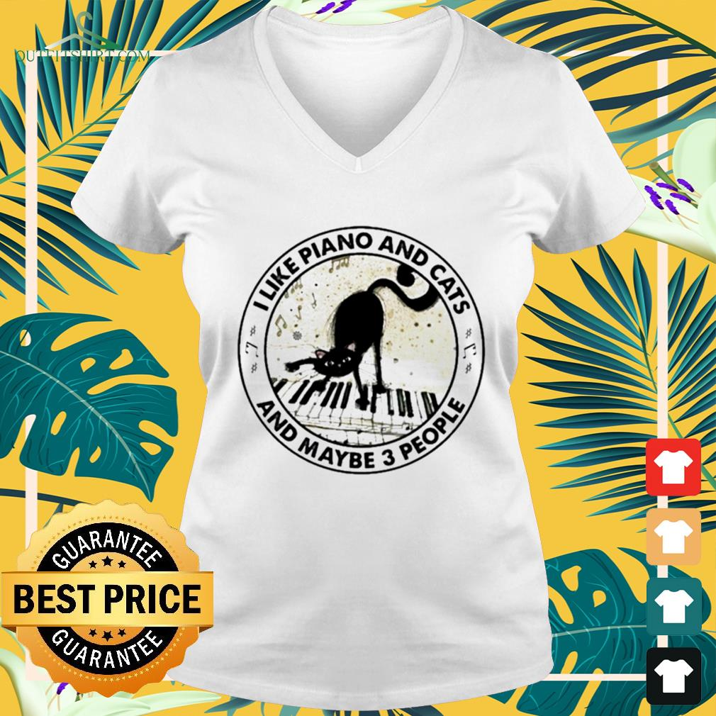 I like piano and cats and maybe 3 people v-neck t-shirt