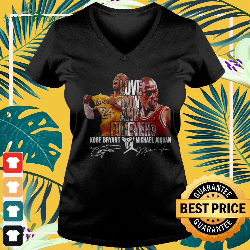 Kobe Bryant and Michael Jordan love now and forever signature v-neck t-shirt