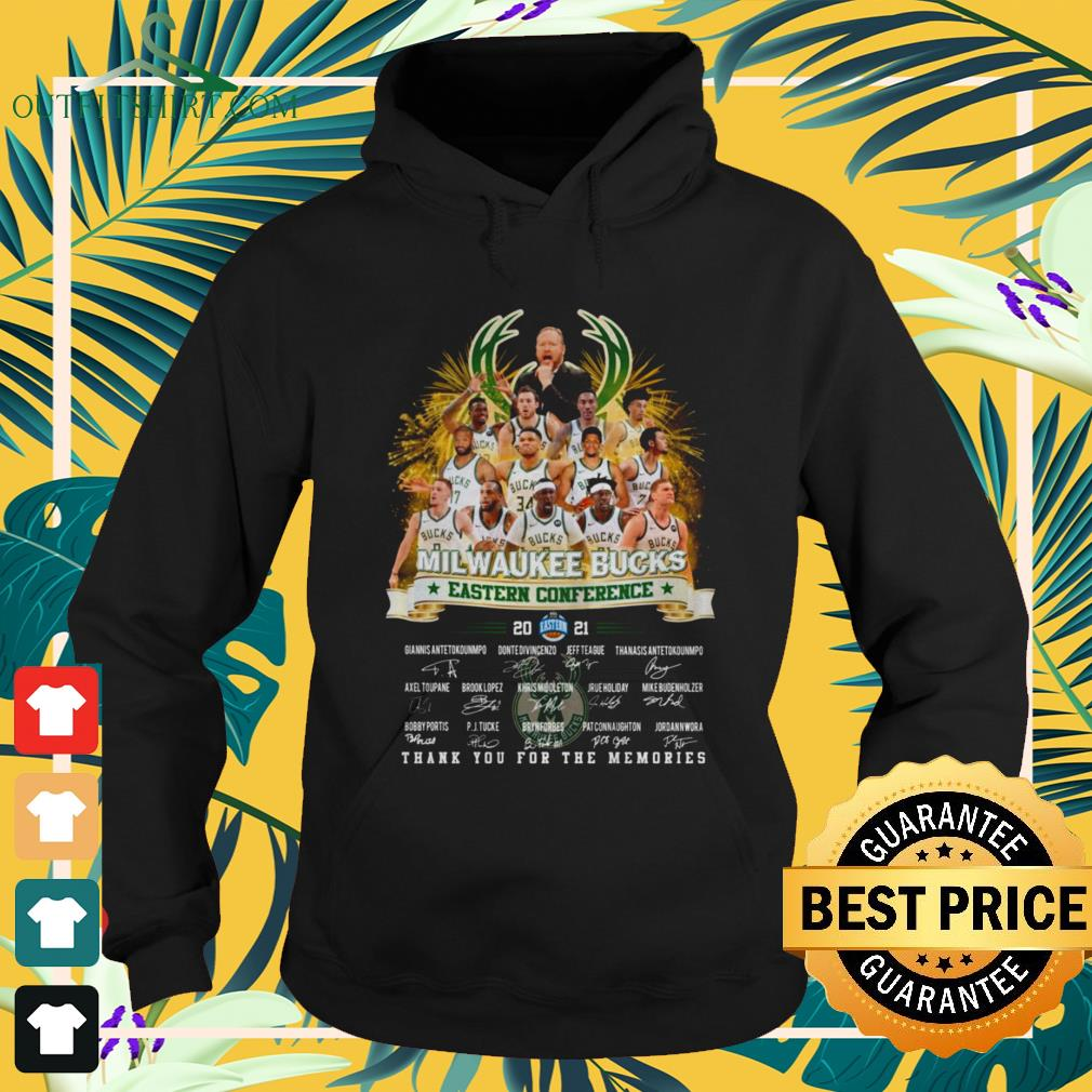 Milwaukee Bucks Eastern Conference 2021 thank you for the memories signature hoodie