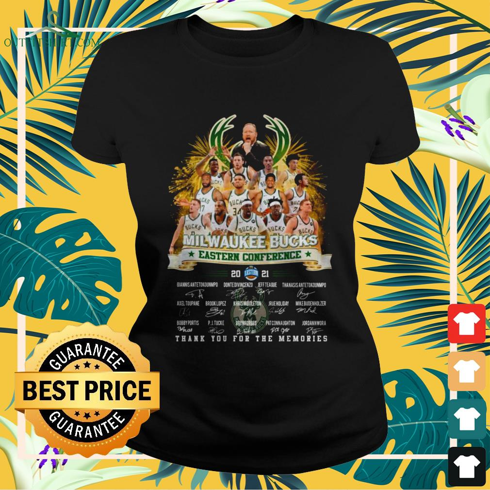 Milwaukee Bucks Eastern Conference 2021 thank you for the memories signature ladies-tee