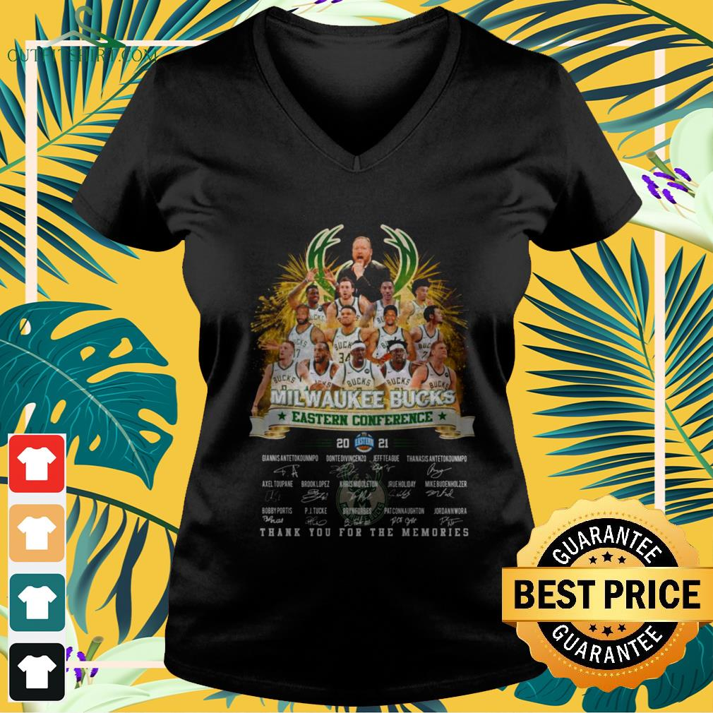 Milwaukee Bucks Eastern Conference 2021 thank you for the memories signature v-neck t-shirt
