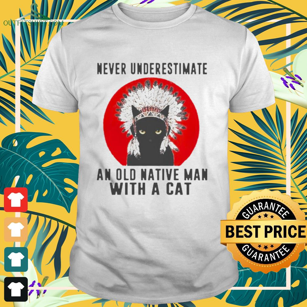 Native American never underestimate an old man with a cat shirt