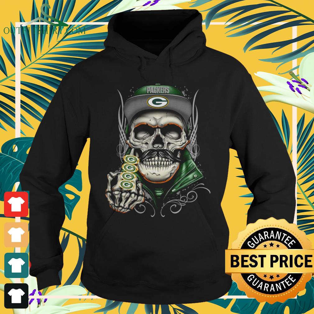 Skull Green Bay Packers middle finger hoodie
