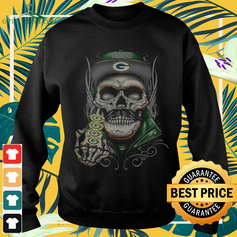 Skull Green Bay Packers middle finger sweater
