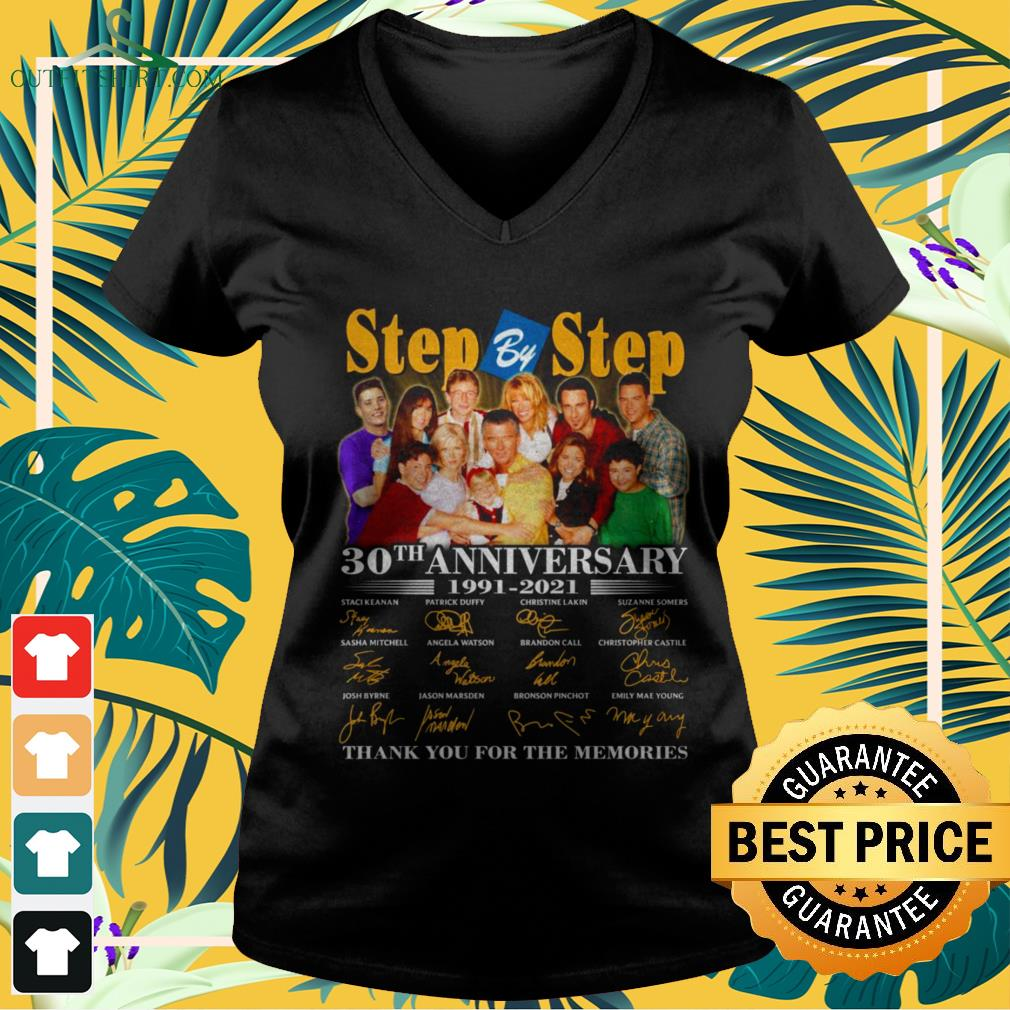Step by Step 30th anniversary 1991-2021 thank you for the memories v-neck t-shirt