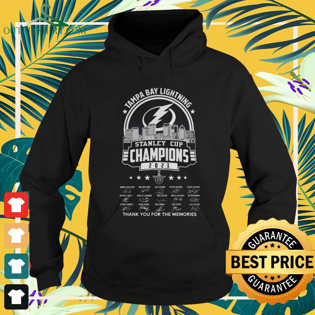 Tampa Bay Lightning 2021 Stanley Cup Champions thank you for the memories signatures hoodie
