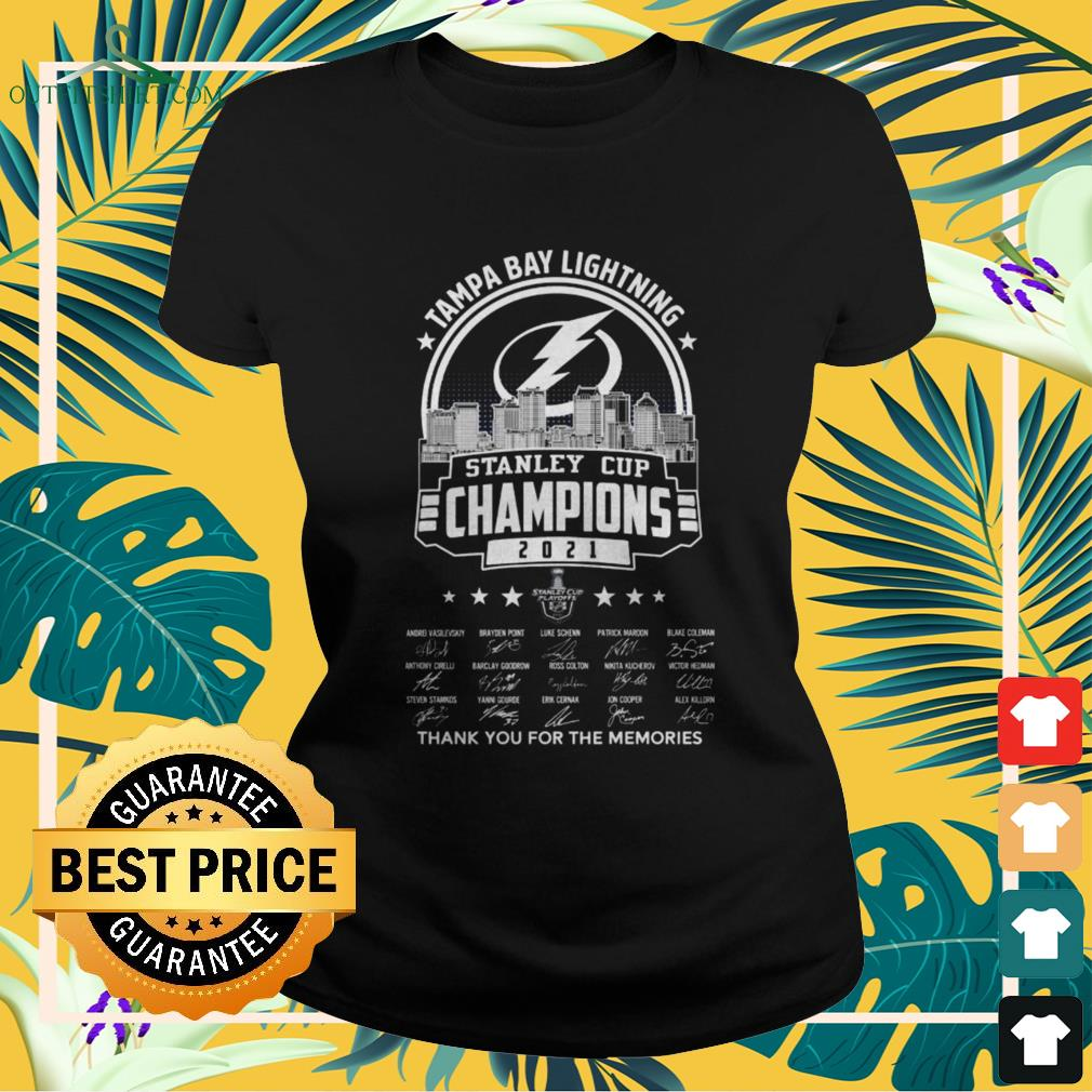 Tampa Bay Lightning 2021 Stanley Cup Champions thank you for the memories signatures ladies-tee