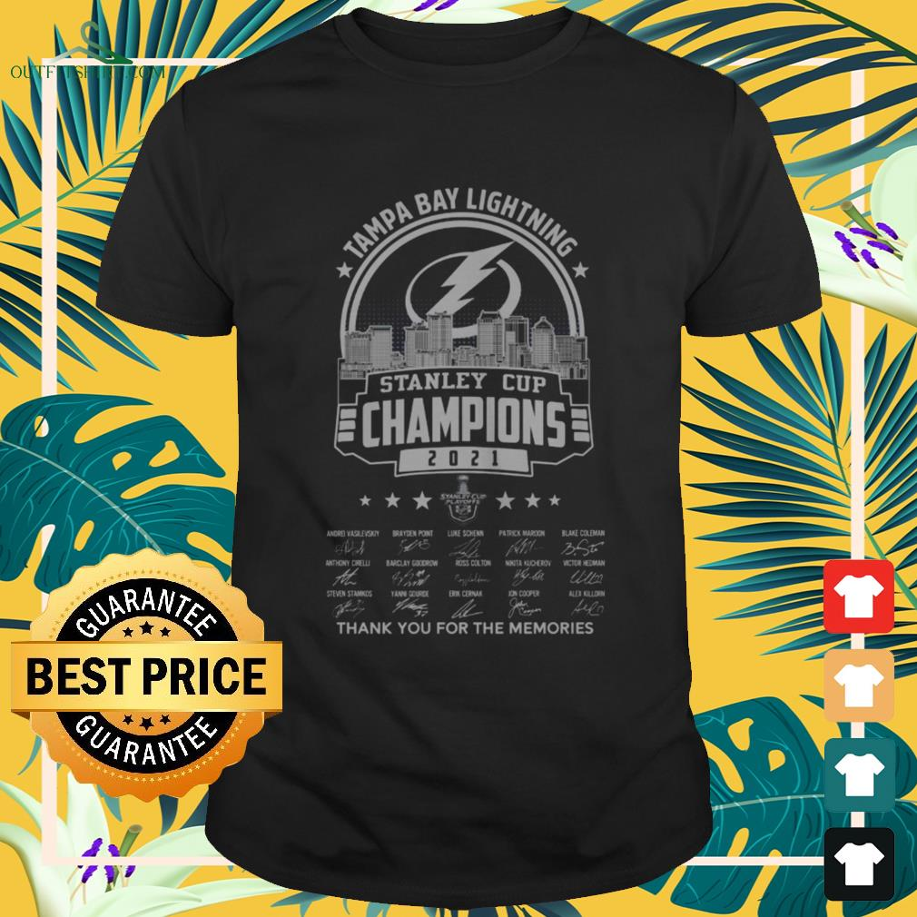 Tampa Bay Lightning 2021 Stanley Cup Champions thank you for the memories signatures shirt