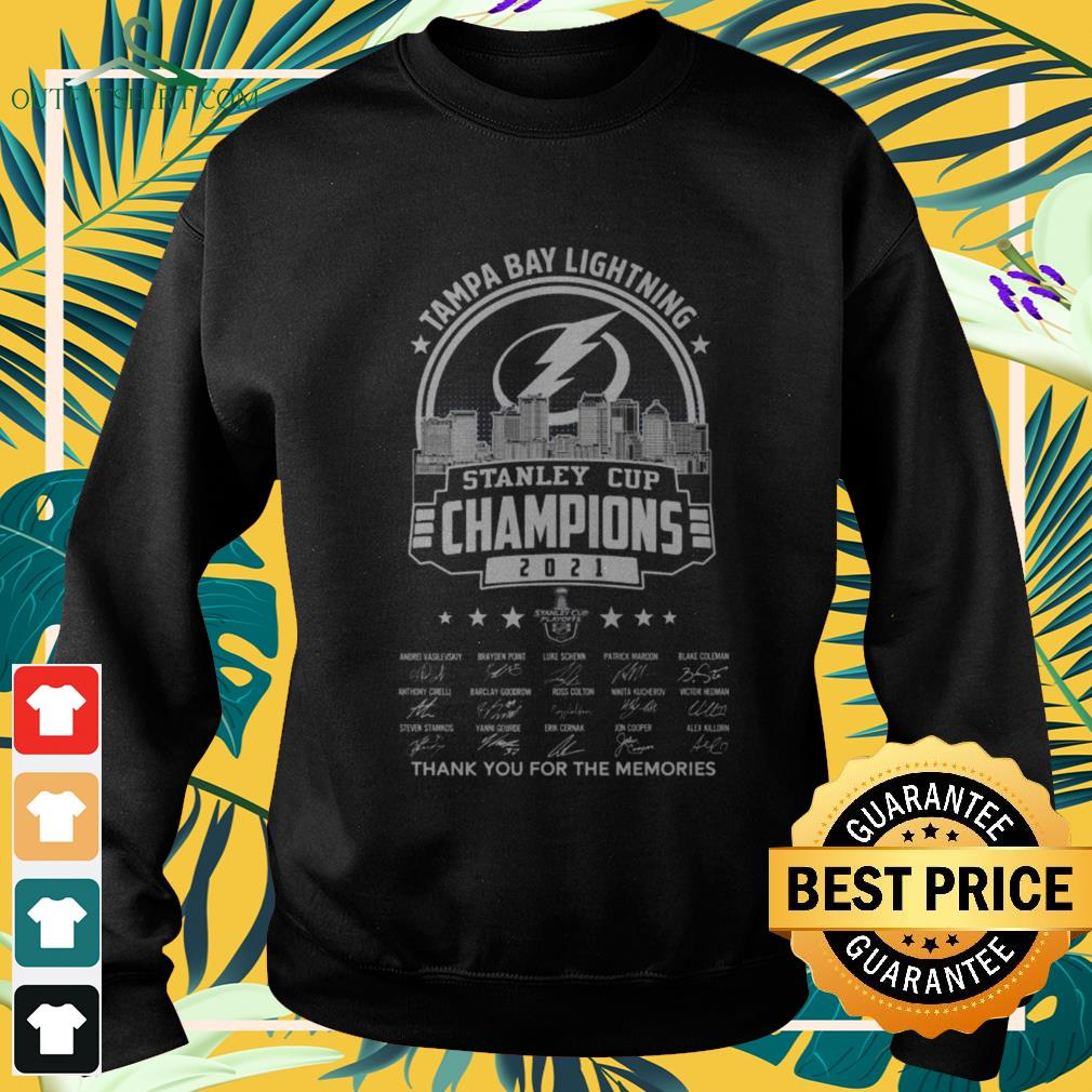Tampa Bay Lightning 2021 Stanley Cup Champions thank you for the memories signatures sweater