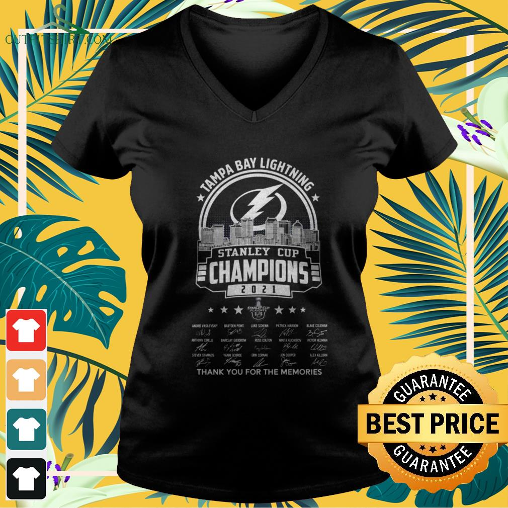 Tampa Bay Lightning 2021 Stanley Cup Champions thank you for the memories signatures v-neck t-shirt