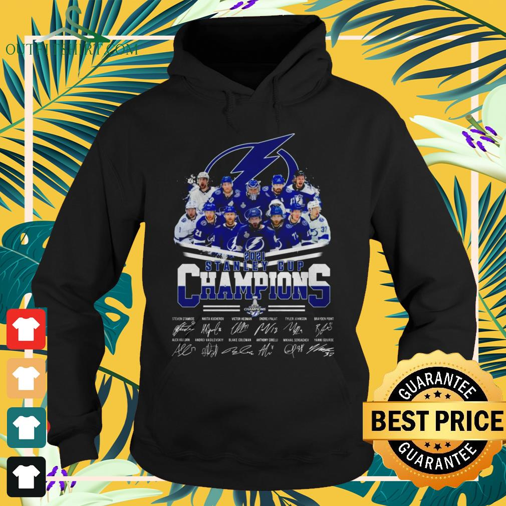Tampa Bay Lightning hockey team 2021 Stanley Cup Champions signatures hoodie
