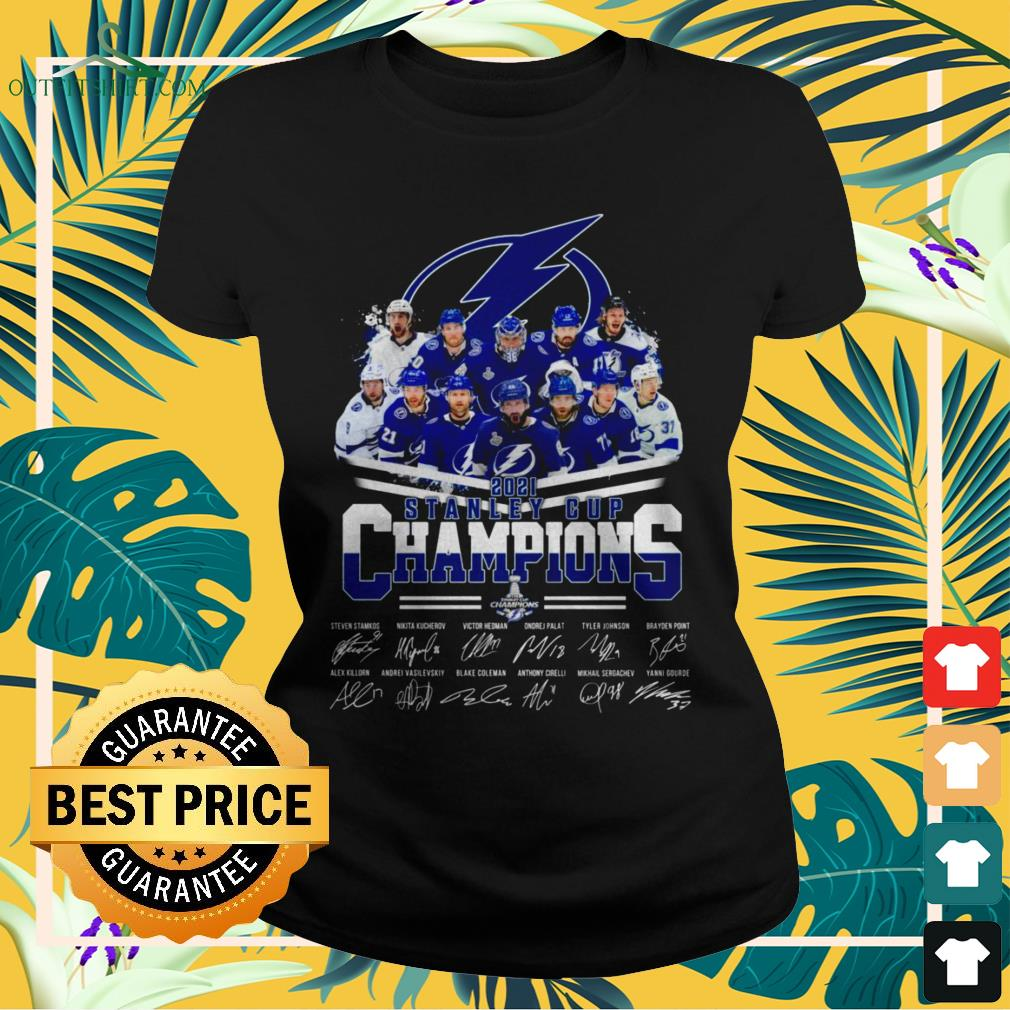 Tampa Bay Lightning hockey team 2021 Stanley Cup Champions signatures ladies-tee