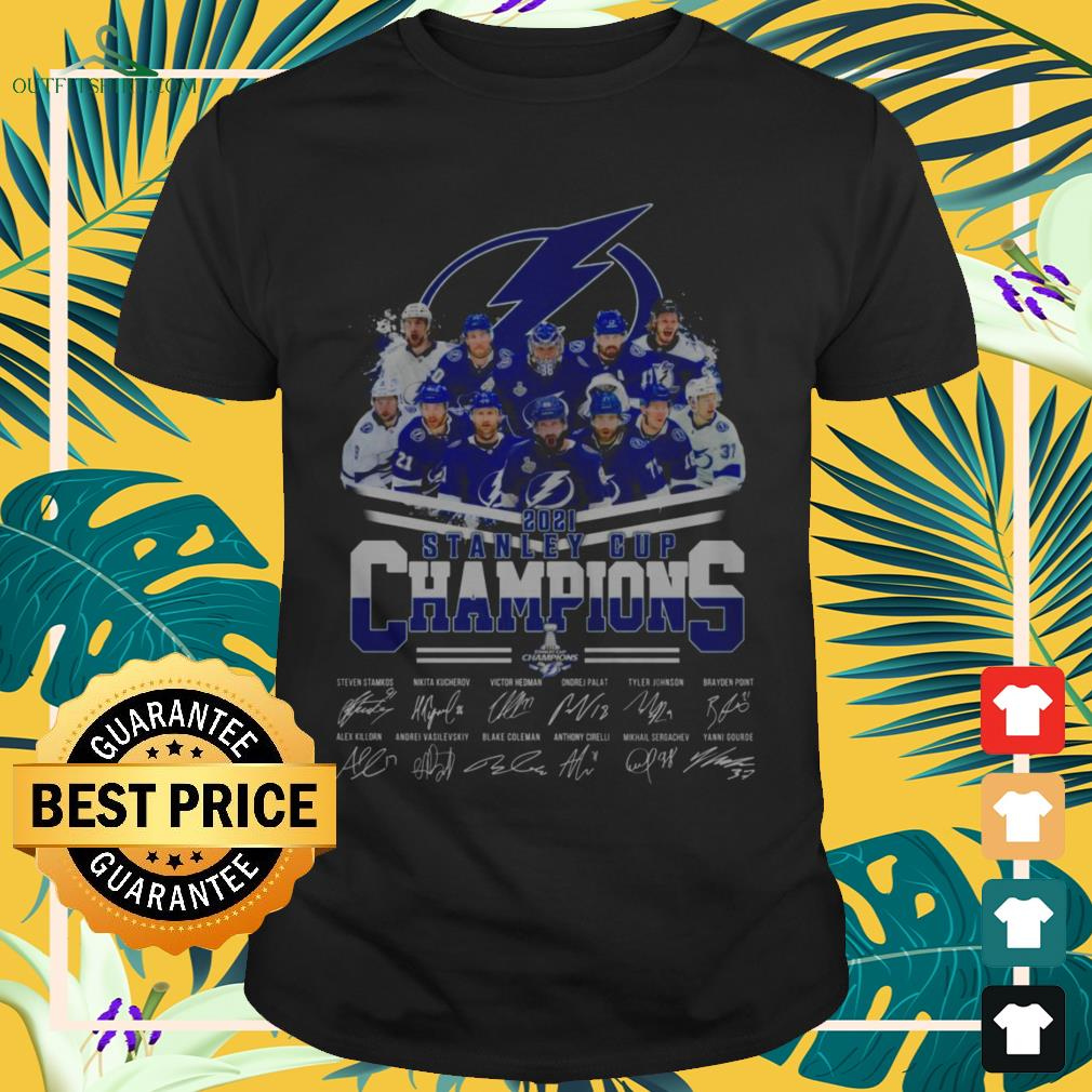 Tampa Bay Lightning hockey team 2021 Stanley Cup Champions signatures shirt