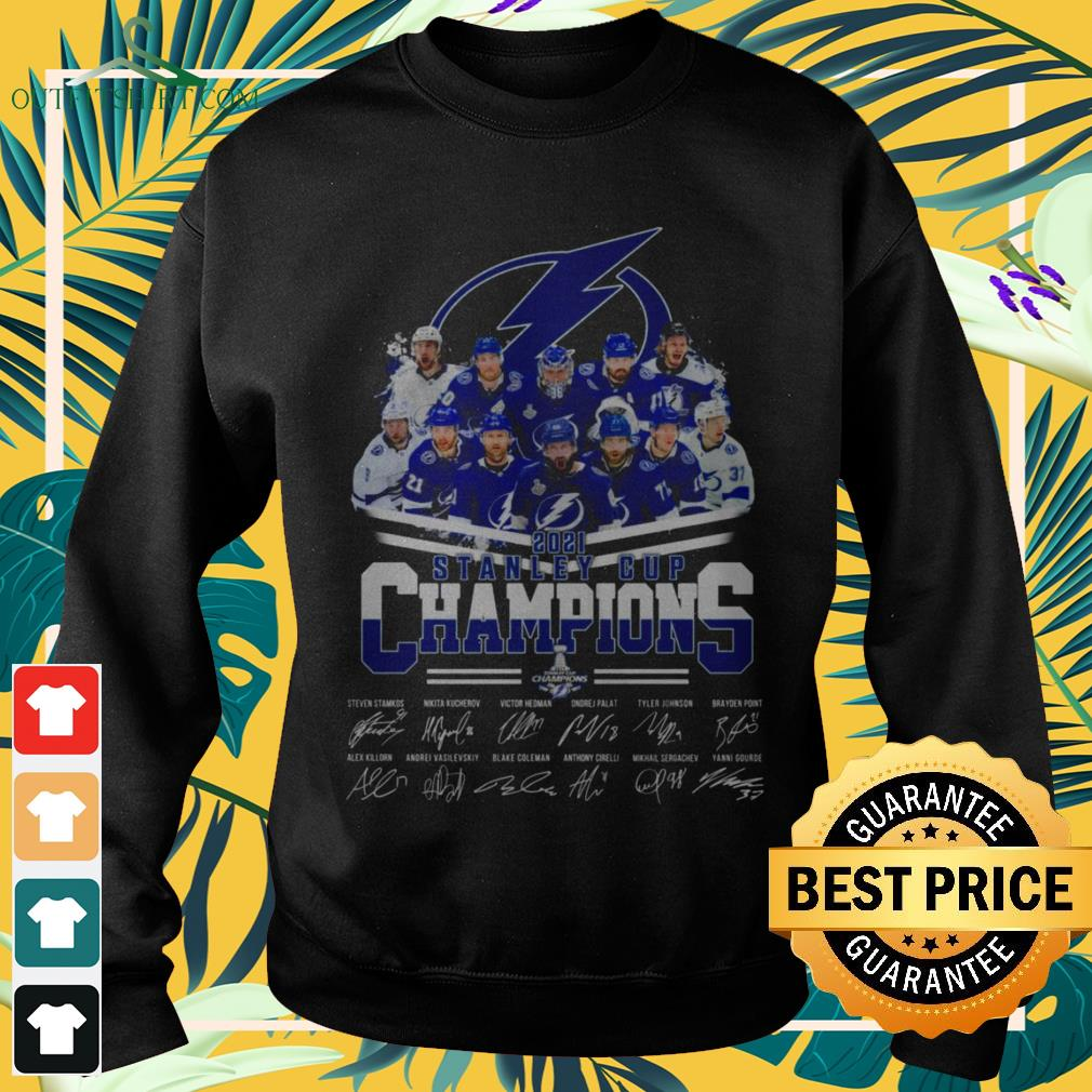 Tampa Bay Lightning hockey team 2021 Stanley Cup Champions signatures sweater