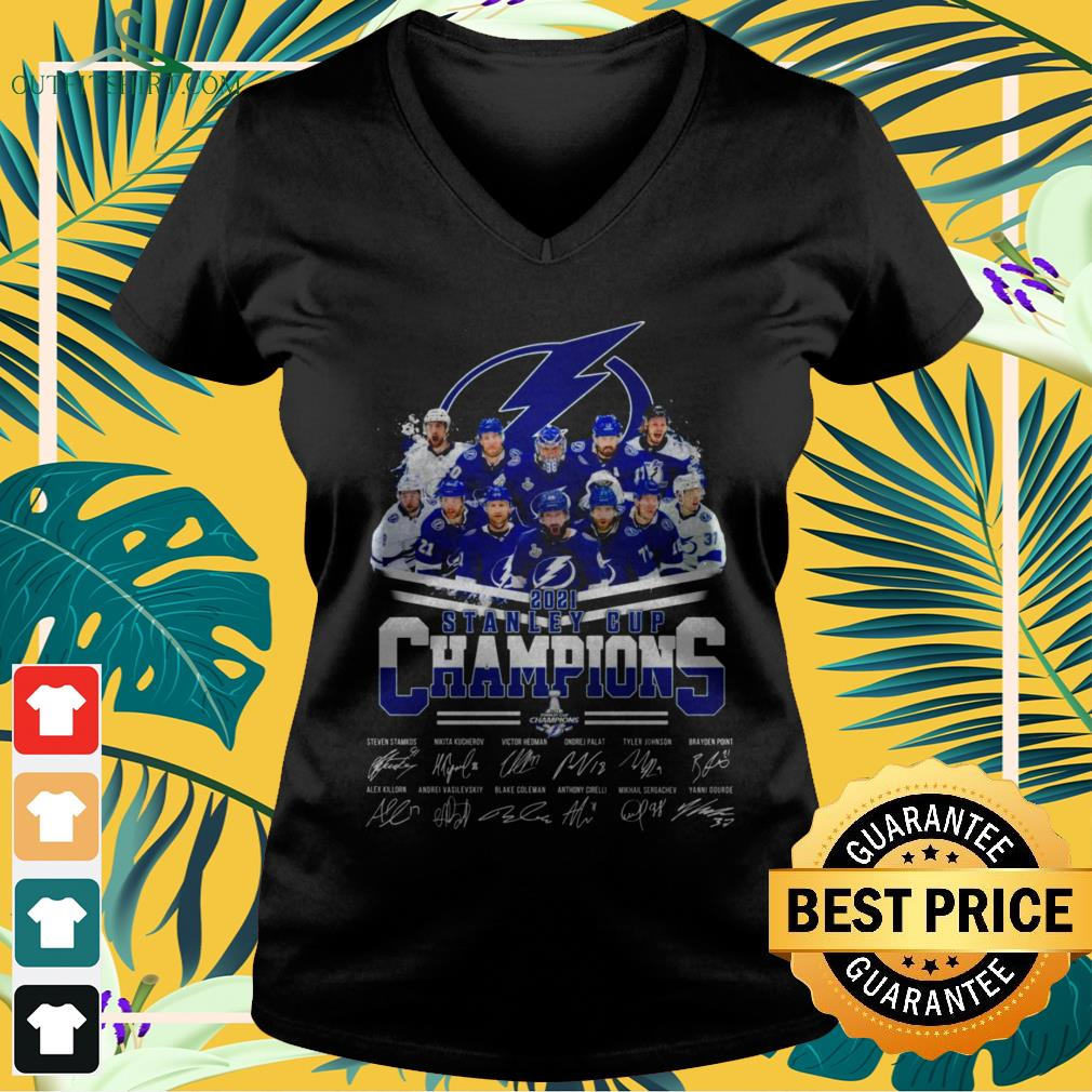 Tampa Bay Lightning hockey team 2021 Stanley Cup Champions signatures v-neck t-shirt