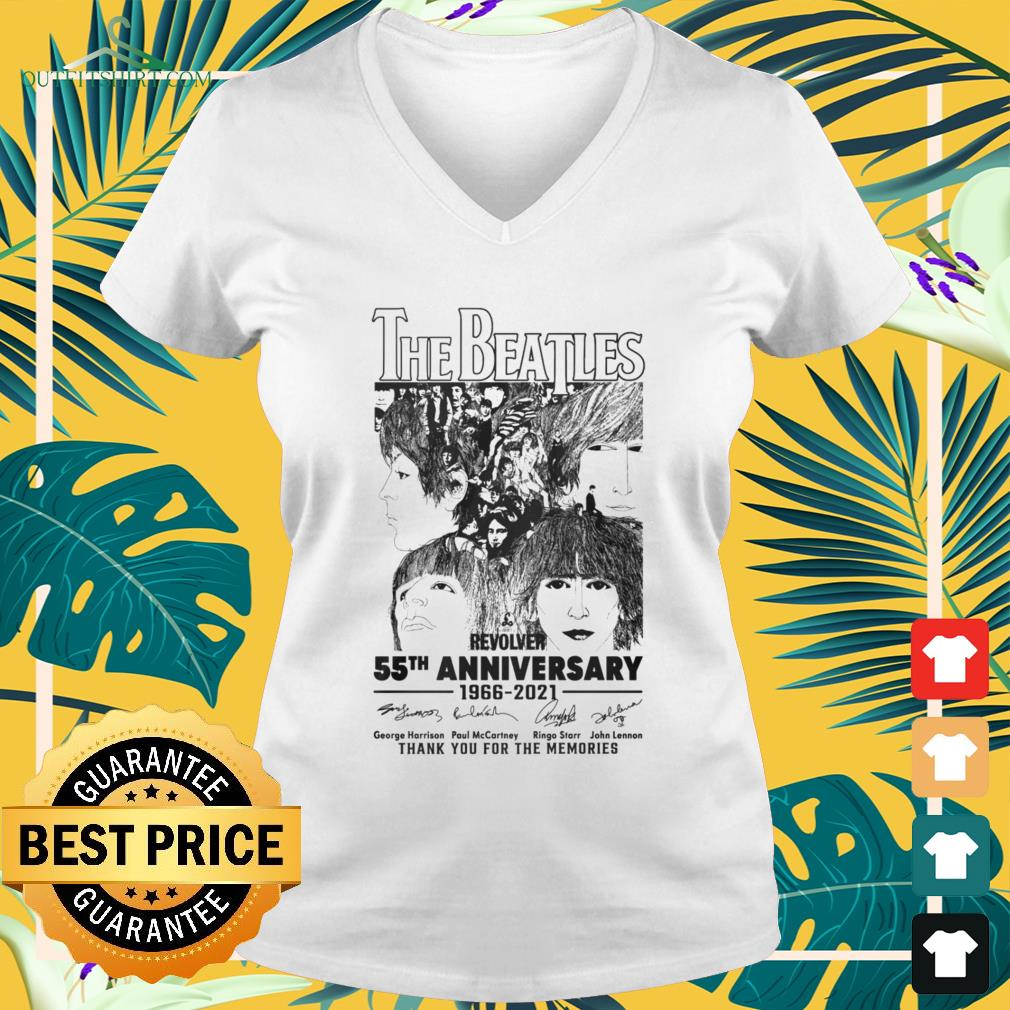 The Beatles Revolver 55th Anniversary 1966-2021 thank you for the memories signatures v-neck t-shirt