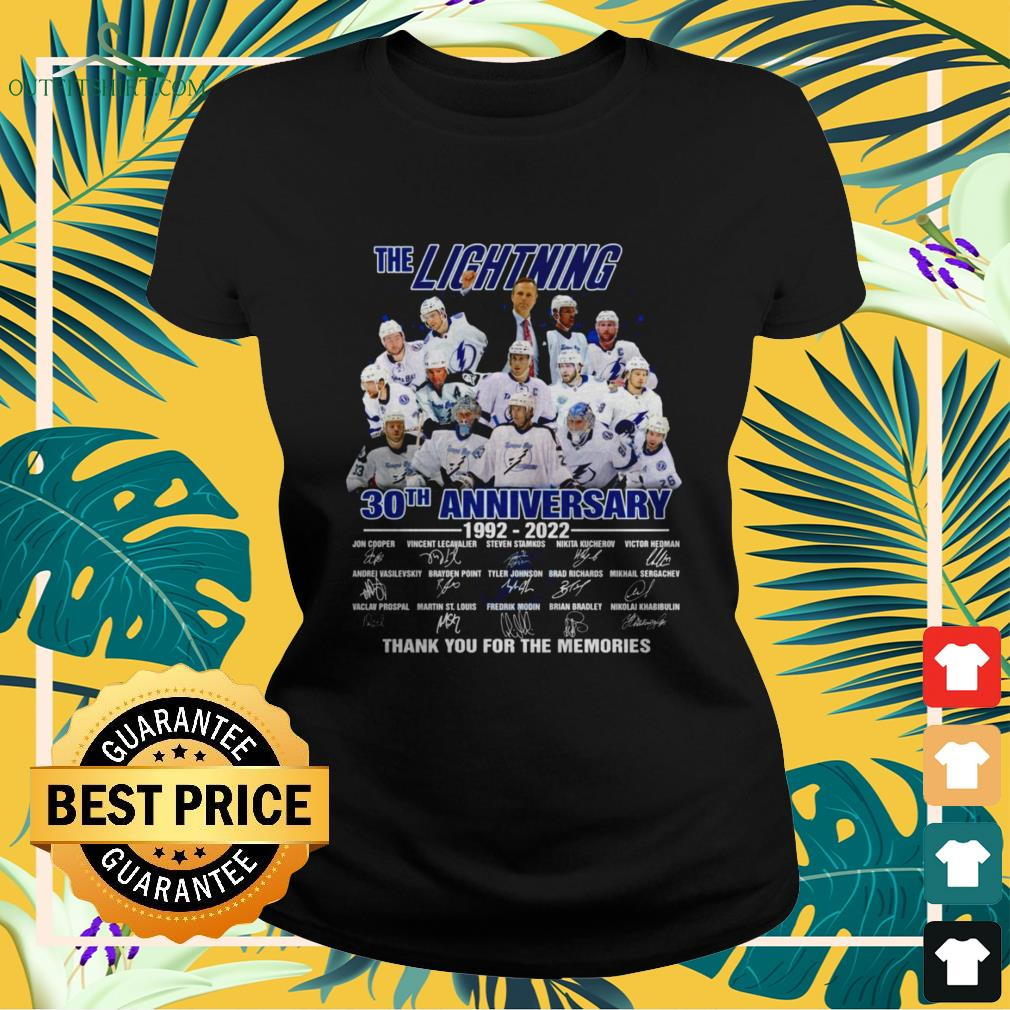 The Lightning 30th Anniversary 1992-2022 thank you for the memories signature ladies-tee