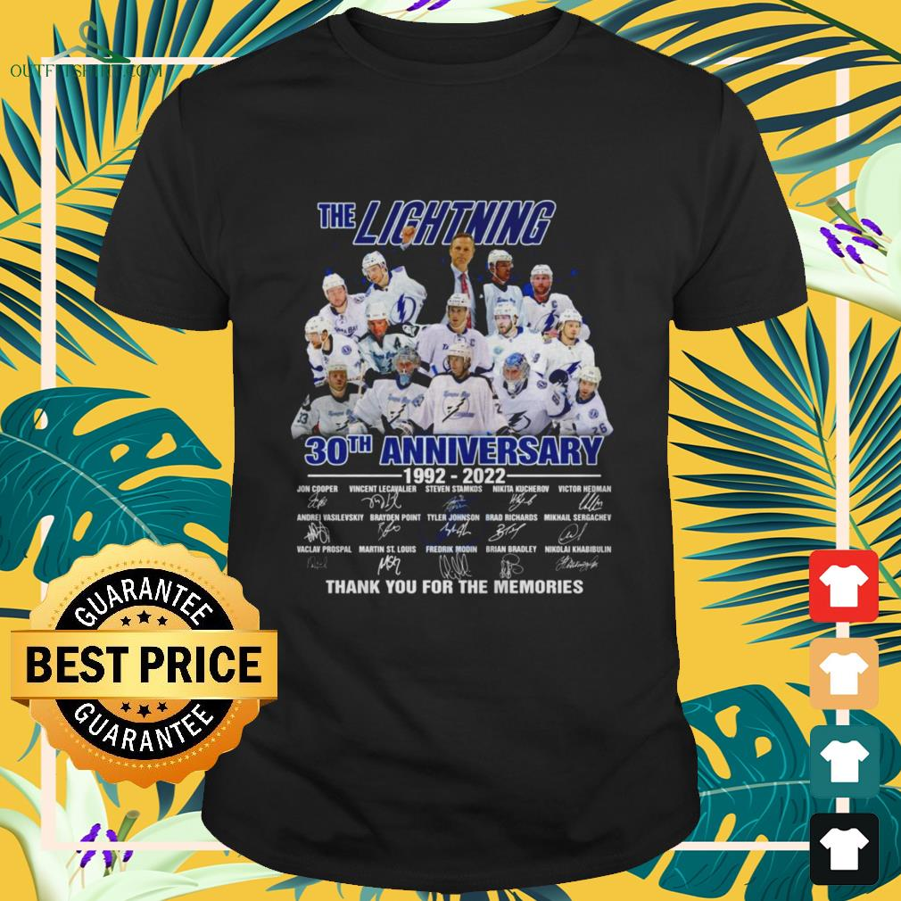 The Lightning 30th Anniversary 1992-2022 thank you for the memories signature shirt