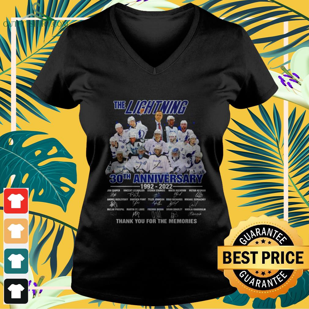 The Lightning 30th Anniversary 1992-2022 thank you for the memories signature v-neck t-shirt