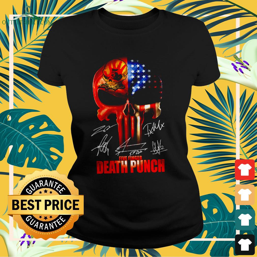 ` The Punisher Skull Five Finger Death Punch signatures ladies-tee