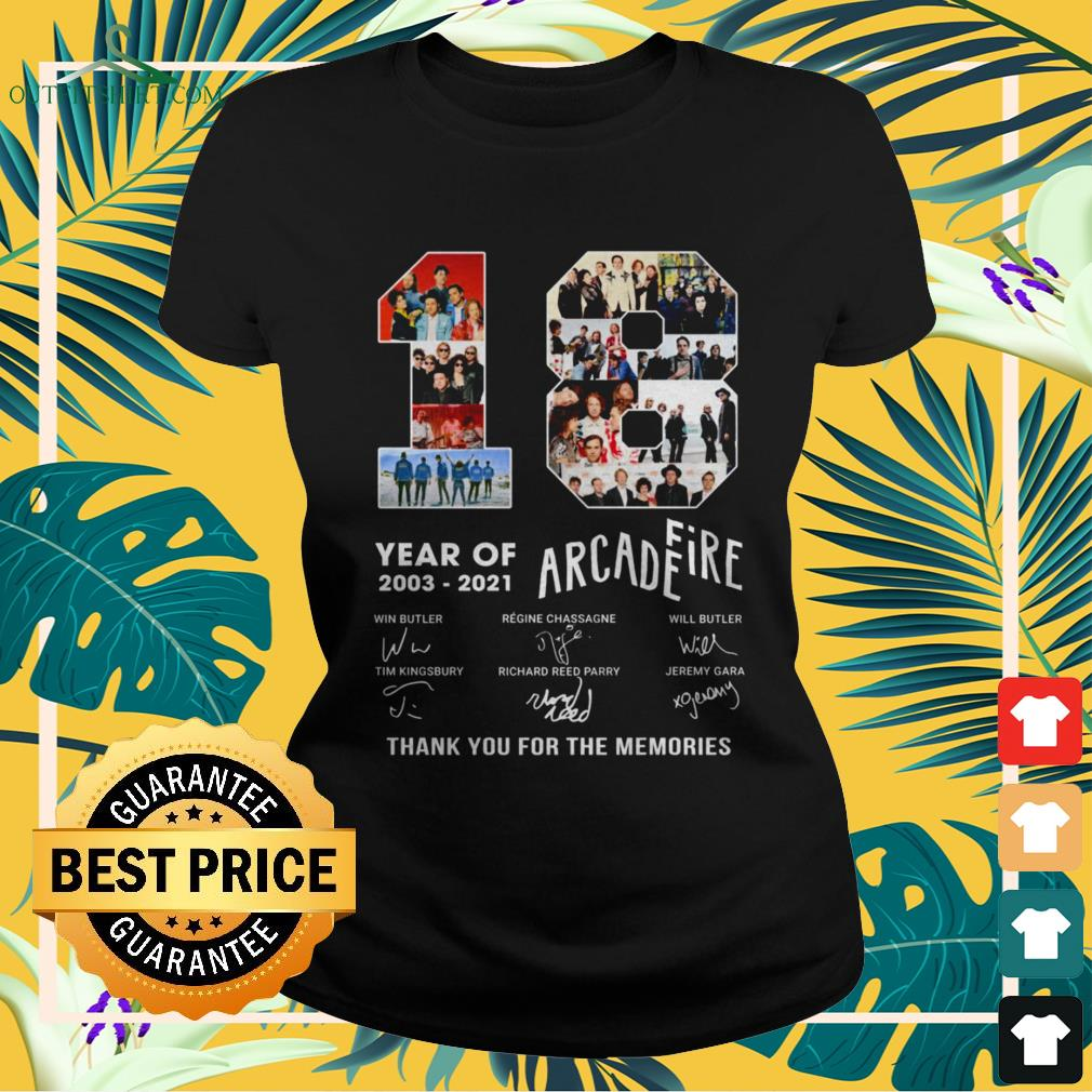 18 Years 2003-2021 Arcade Fire thank you for the memories signature ladies-tee