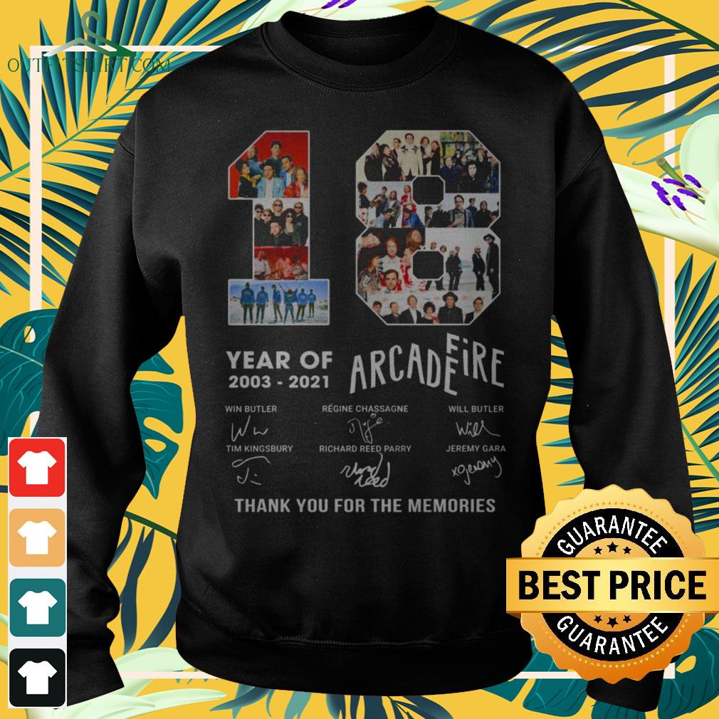 18 Years 2003-2021 Arcade Fire thank you for the memories signature sweater