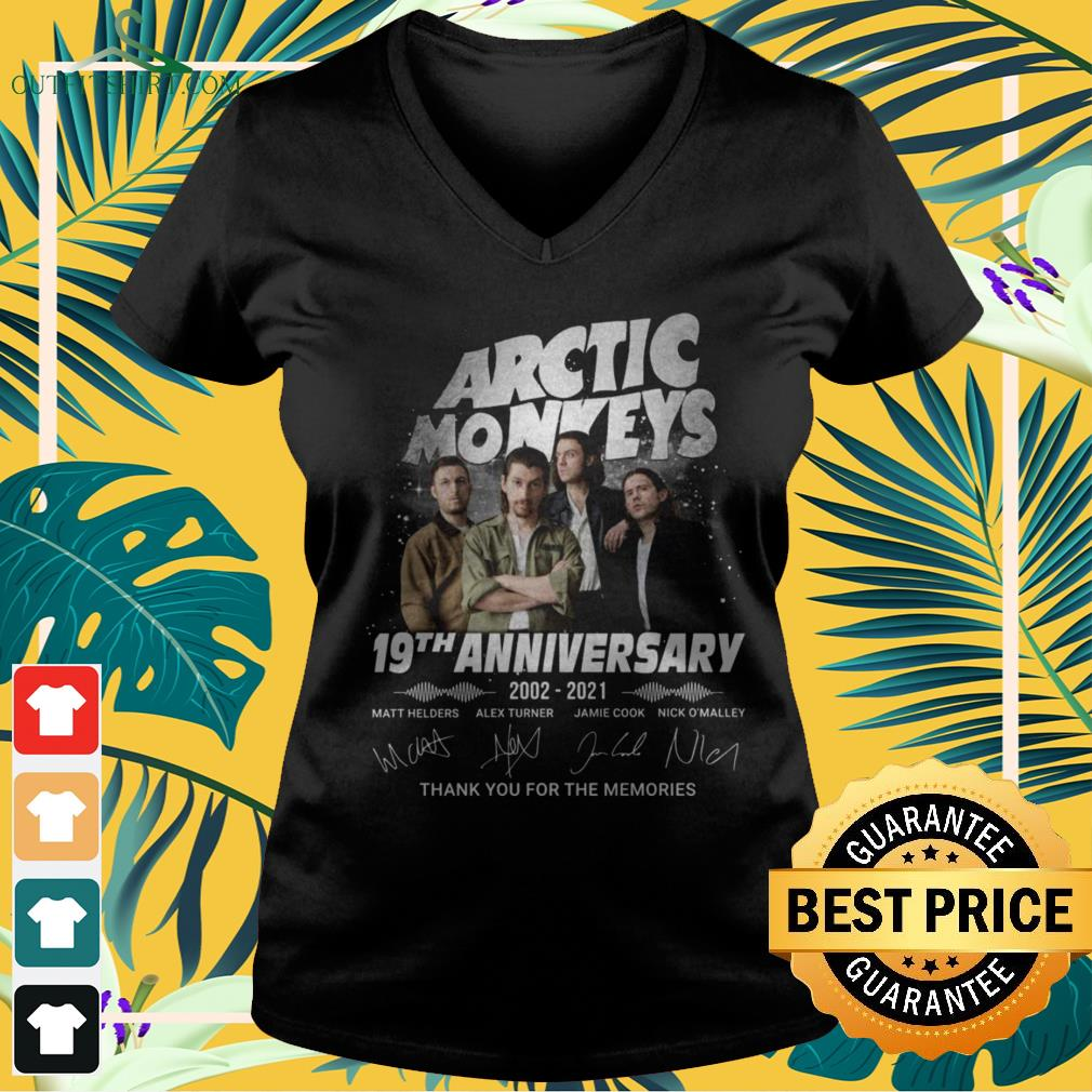 Arctic Monkeys 19th Anniversary 2002-2021 thank you for the memories signature v-neck t-shirt