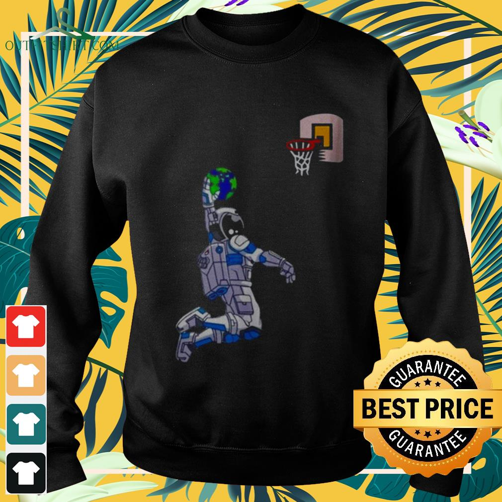 Astronaut Space Earth dunking basketball sweater