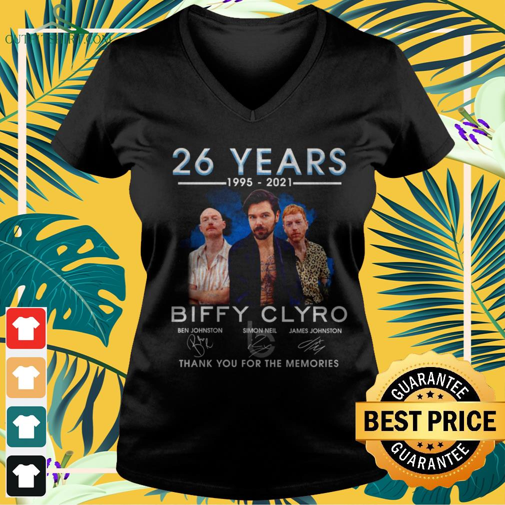 Biffy Clyro 26 years 1995-2021 thank you for the memories signatures v-neck t-shirt