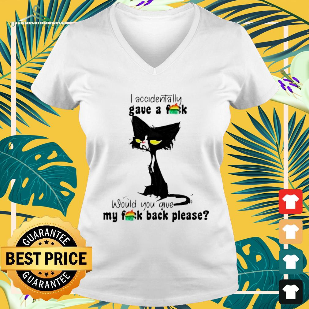 Black cat I accidentally gave a fuck would you give my fuck back please v-neck t-shirt