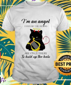 Black cat I'm an angel I swear the horns are onlythere to hold up the halo shirt